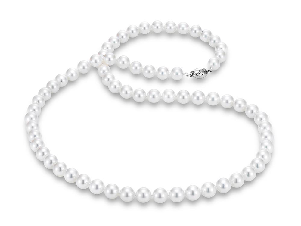 "MASTOLONI - 18K White Gold 8-8.5MM White Round ""A"" Quality Akoya Pearl Strand 24 Inches"