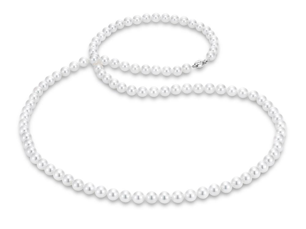 "MASTOLONI - 18K White Gold 8-8.5MM White Round ""A"" Quality Akoya Pearl Strand 34 Inches"