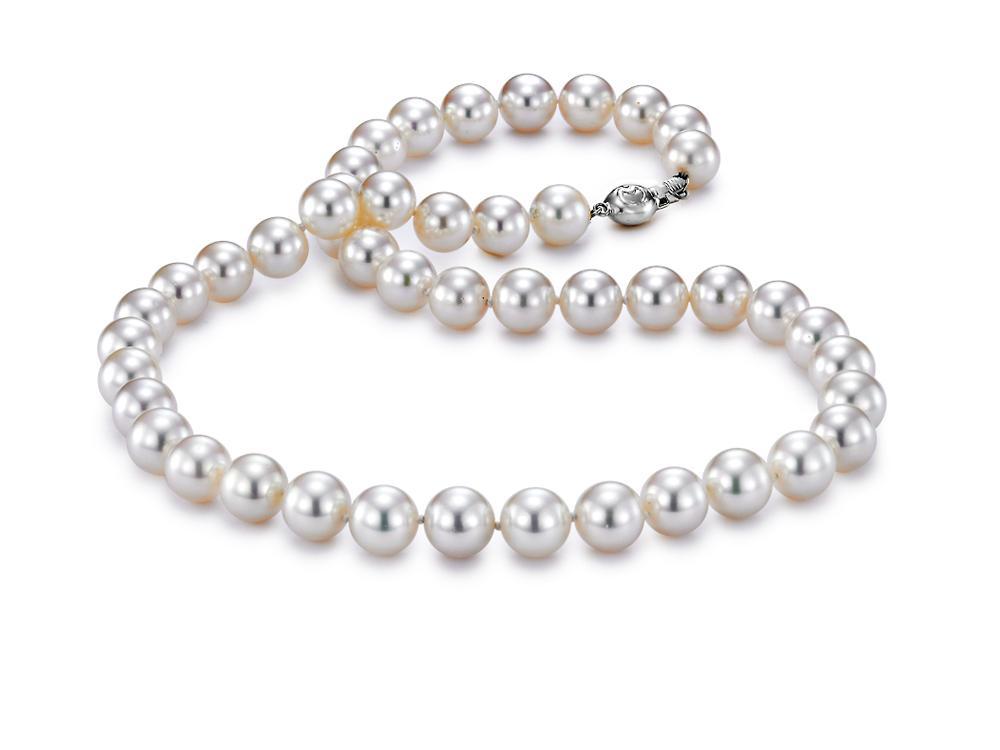 "MASTOLONI - 18K White Gold 8.5-9MM White Round ""A"" Quality Akoya Pearl Strand 18 Inches"