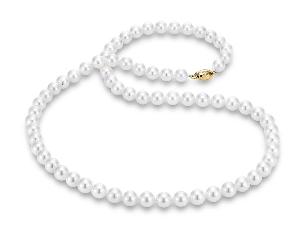 """MASTOLONI - 18K Yellow Gold 8.5-9MM White Round """"A"""" Quality Akoya Pearl Strand 24 Inches"""