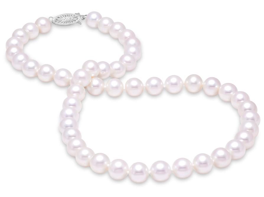 "MASTOLONI - 14K White Gold 8.5-9.5MM White Round ""A"" Quality Freshwater Pearl Strand 16 Inches"
