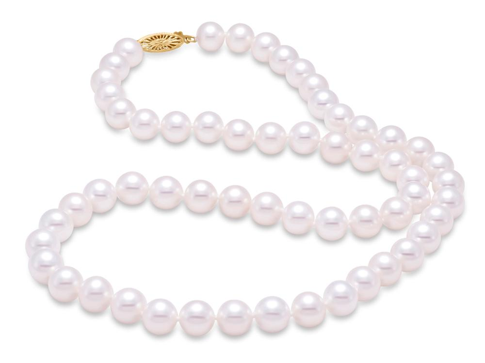"MASTOLONI - 14K White Gold 8.5-9.5MM White Round ""A"" Quality Freshwater Pearl Strand 24 Inches"