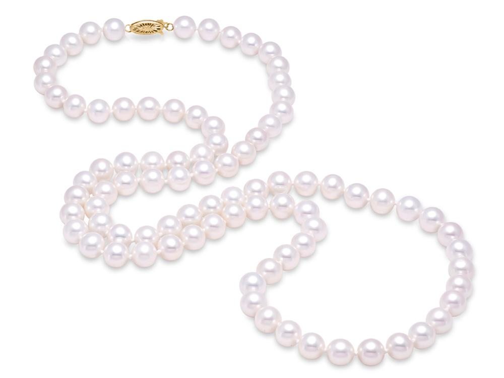 "MASTOLONI - 14K Yellow Gold 8.5-9.5MM White Round ""A"" Quality Freshwater Pearl Strand 30 Inches"