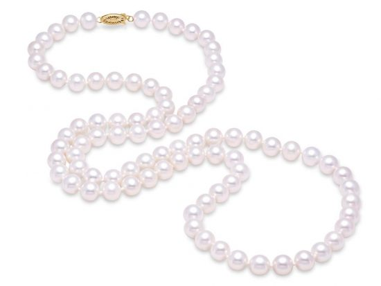 "MASTOLONI - 14K White Gold 8.5-9.5MM White Round ""A"" Quality Freshwater Pearl Strand 34 Inches"