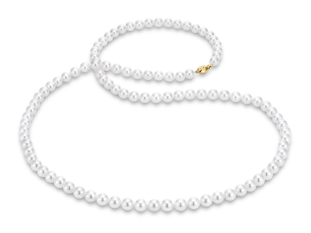 """MASTOLONI - 18K Yellow Gold 9-9.5MM White Round """"A"""" Quality Akoya Pearl Strand 34 Inches"""