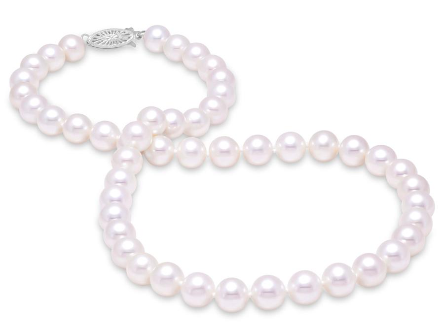 "MASTOLONI - 14K White Gold 9.5-10.5MM White Round ""A"" Quality Freshwater Pearl Strand 16 Inches"