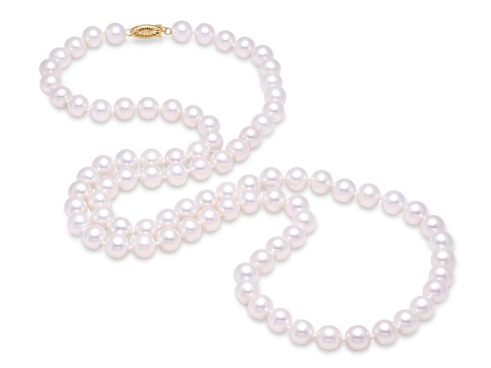 "MASTOLONI - 14K Yellow Gold 9.5-10.5MM White Round ""A"" Quality Freshwater Pearl Strand 30 Inches"
