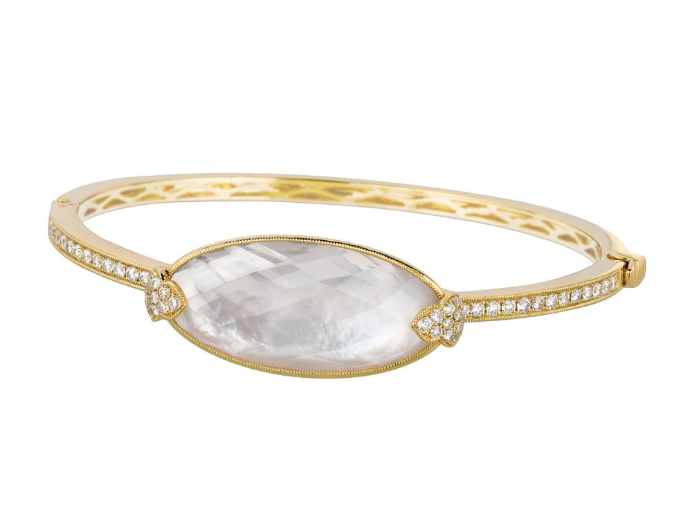 DOVES - 18K Yellow Gold Diamond Bangle