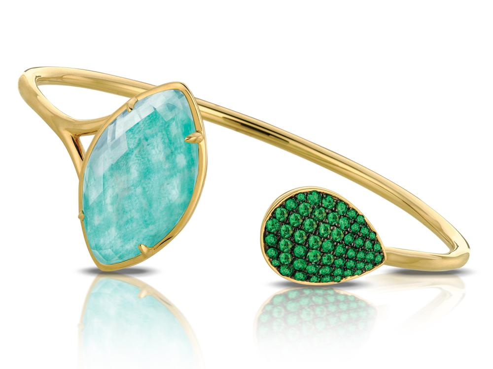 DOVES - 18K Yellow Gold Tsavorite Bangle