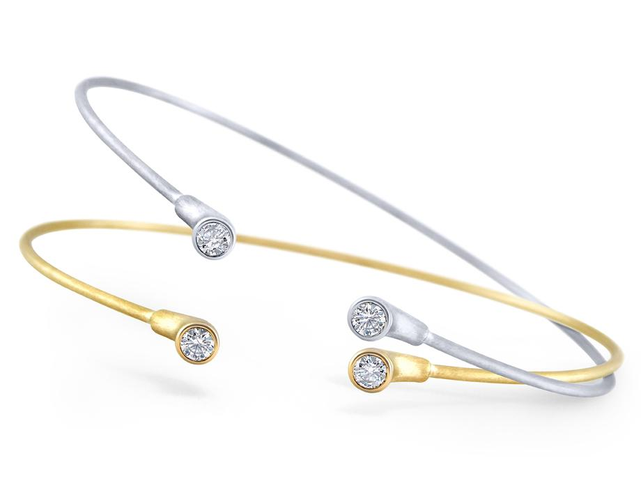 KC DESIGNS - 14K Gold and Diamond Two Stone Bangle