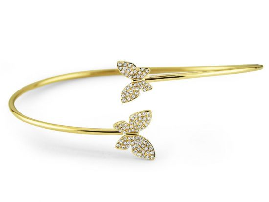 KC DESIGNS - 14K Diamond Double Butterfly Bangle