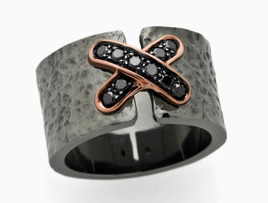 "BLACK COLLECTION - Diamond ""X"" Sterling Silver Ring"