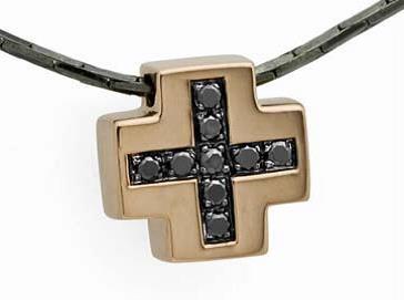 BLACK COLLECTION - Diamond Sterling Silver Cross Pendant
