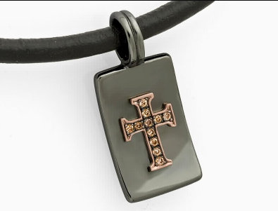 BLACK COLLECTION - Diamond Sterling Silver Cross Pendant