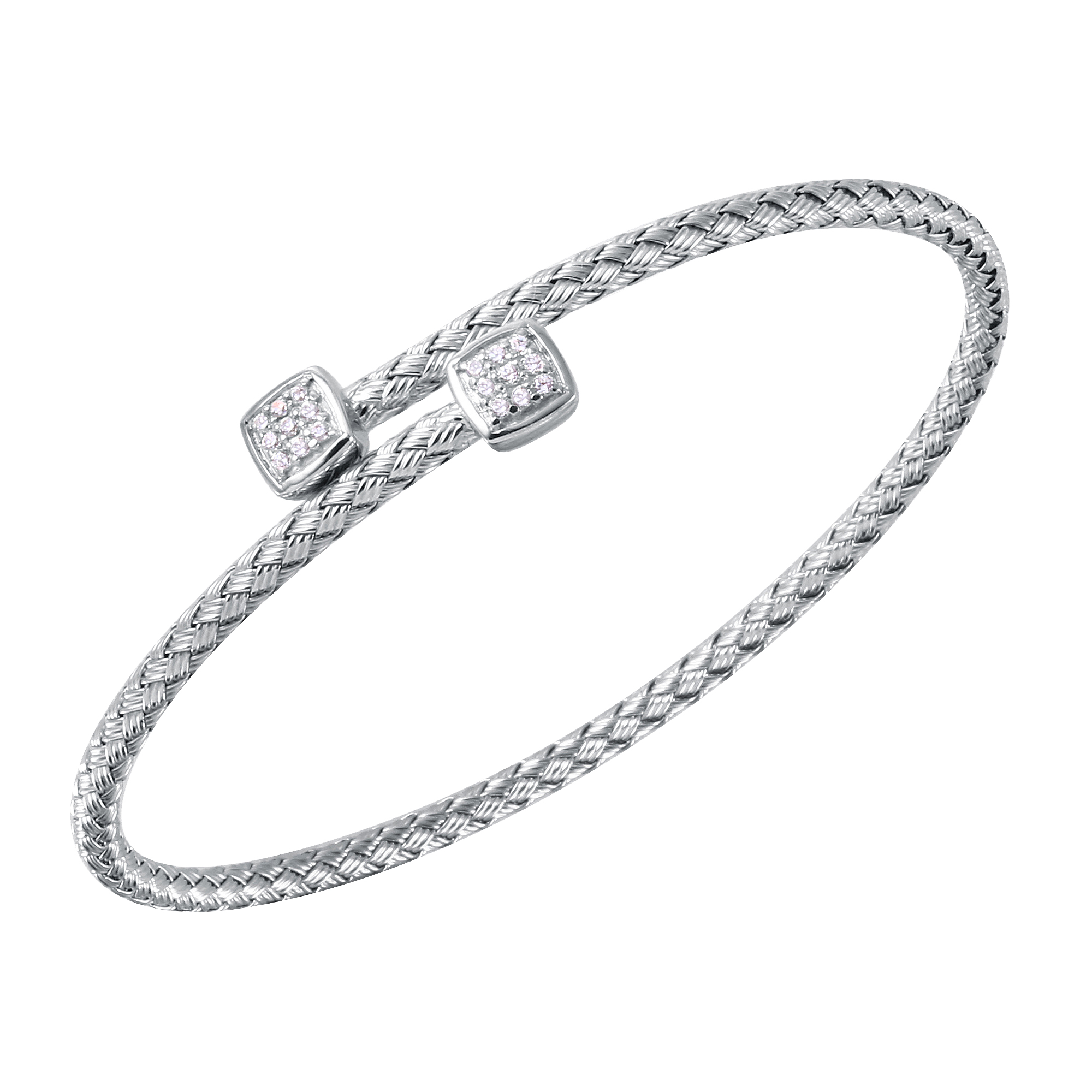 CHARLES GARNIER - Sterling Silver and CZ Cuff Bangle