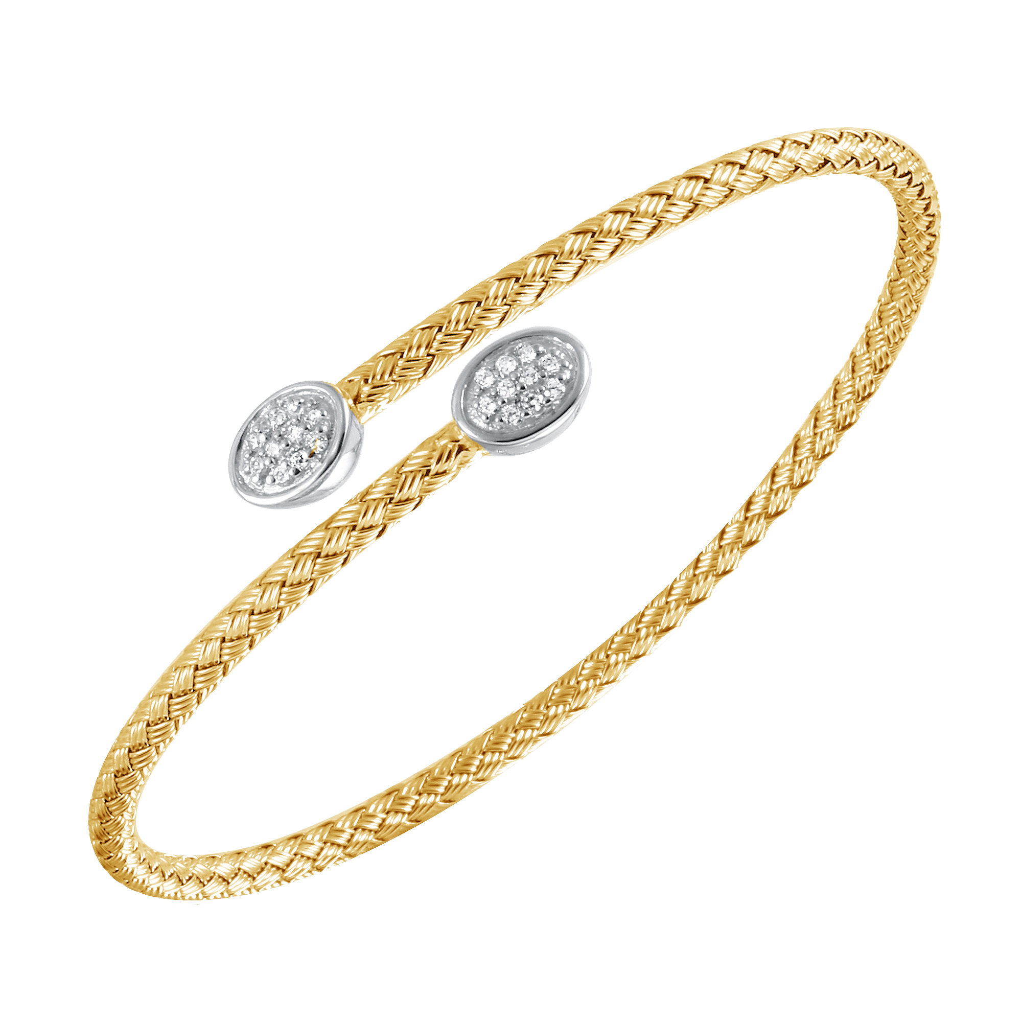 CHARLES GARNIER - Sterling Silver and CZ Oval Cuff Bangle