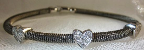 Black Rhodium & White Gold Cord Bangle