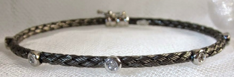 Black Rhodium Braided Bangle