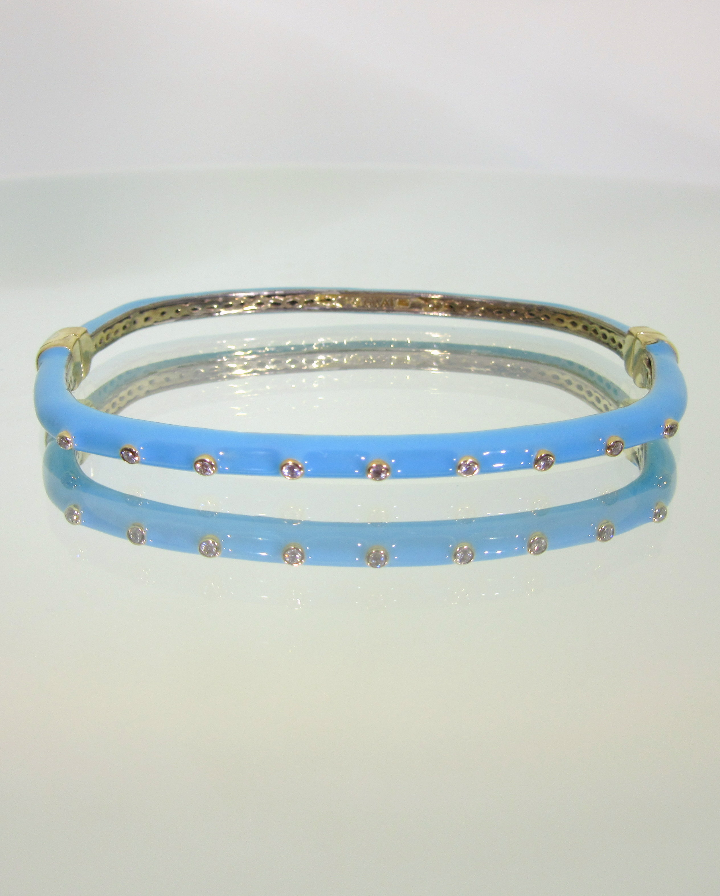 Blue Enamel Hinged Bangle