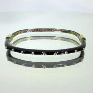Black Enamel Hinged Bangle