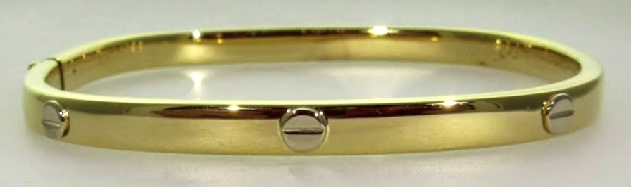 "Yellow Gold ""Cartier"" Style Hinged Bangle"