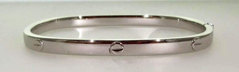 "White Gold ""Cartier"" Style Hinged Bangle"