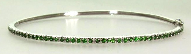 White Gold & Green Garnet Hinged Bangle