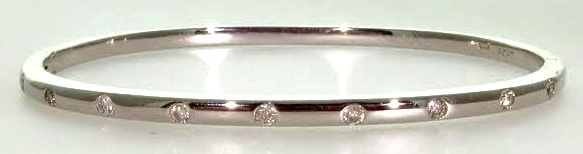 White Gold & Diamond Hinged Bangle