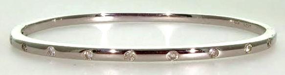 White Gold & Diamond Hinged Bangle