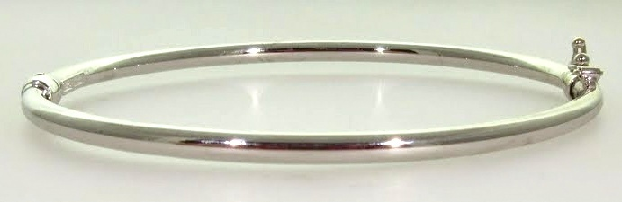 White Gold Hinged Bangle