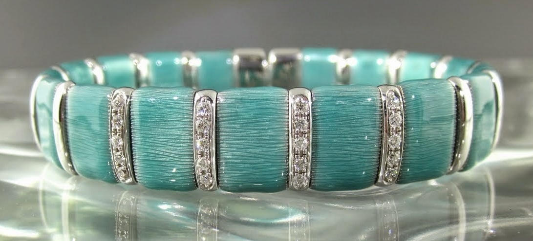 Turquoise Firenze Enamel & Sterling Silver Diamond Bangle Bracelet
