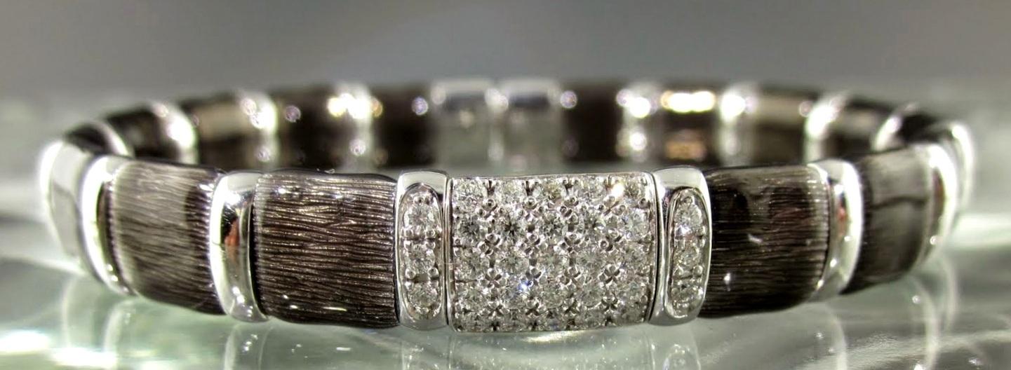 Black Firenze Enamel & Sterling Silver Diamond Bangle Bracelet