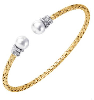 Pearl & Diamond Mesh Cuff Bangle Bracelet