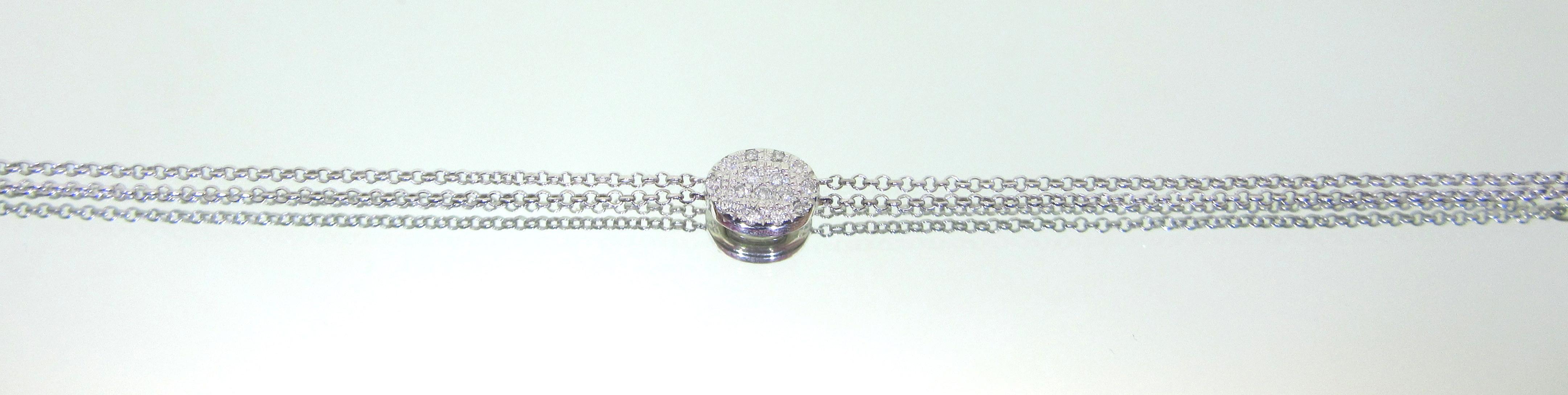 Pave Diamond Oval Disc Minimalist Bracelet