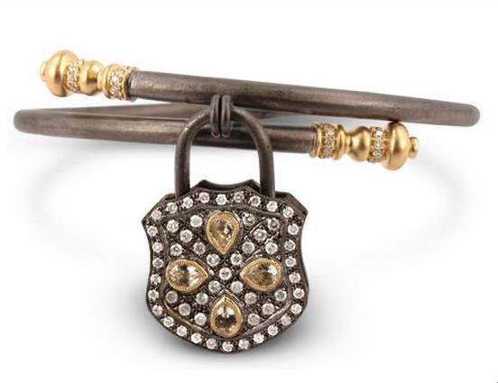 Interchangeable Diamond Padlock Bracelet