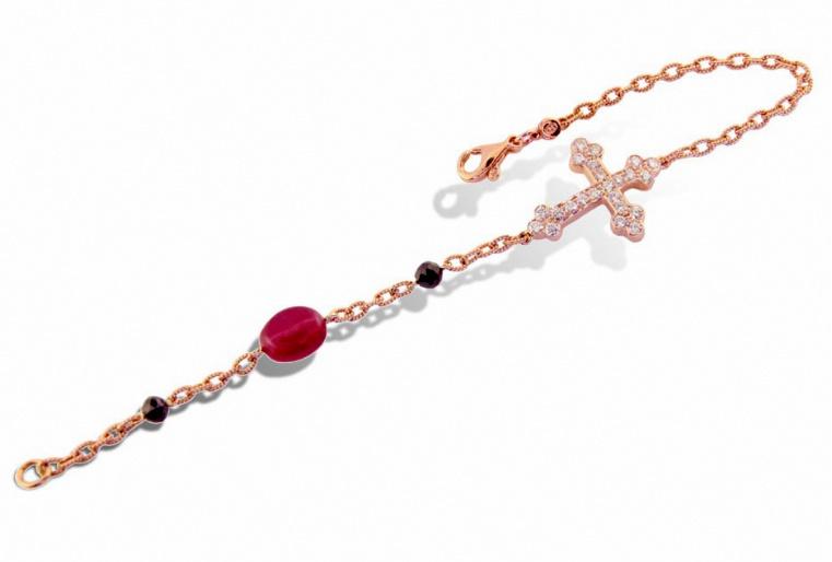 Diamond & Ruby Cross Bracelet