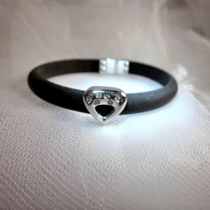 Black Rubber Bracelet with Diamond Charm