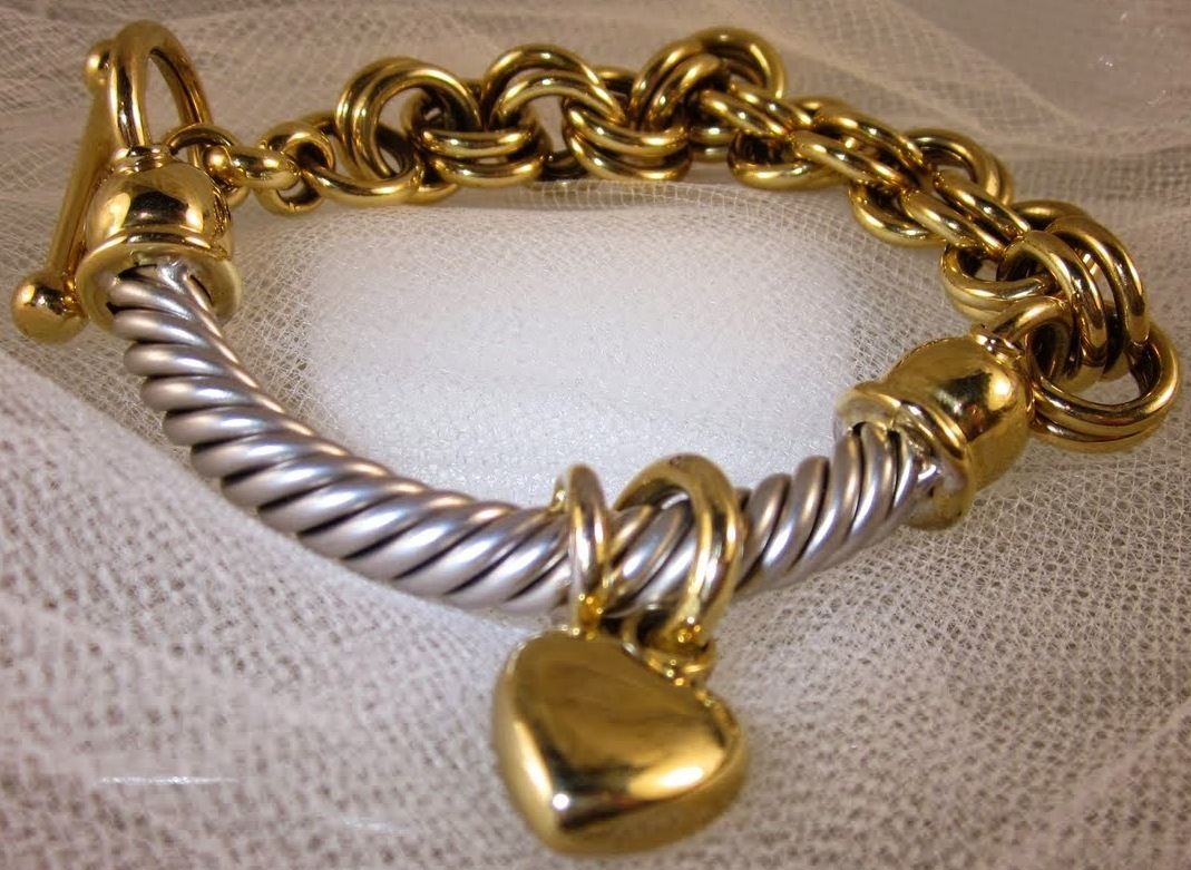 Two Tone Cable & Link Bracelet