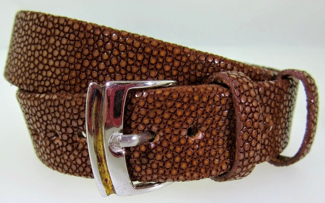 Brown Triple Wrap Textured Leather Bracelet