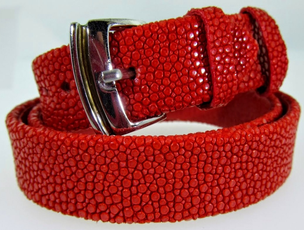 Red Triple Wrap Textured Leather Bracelet