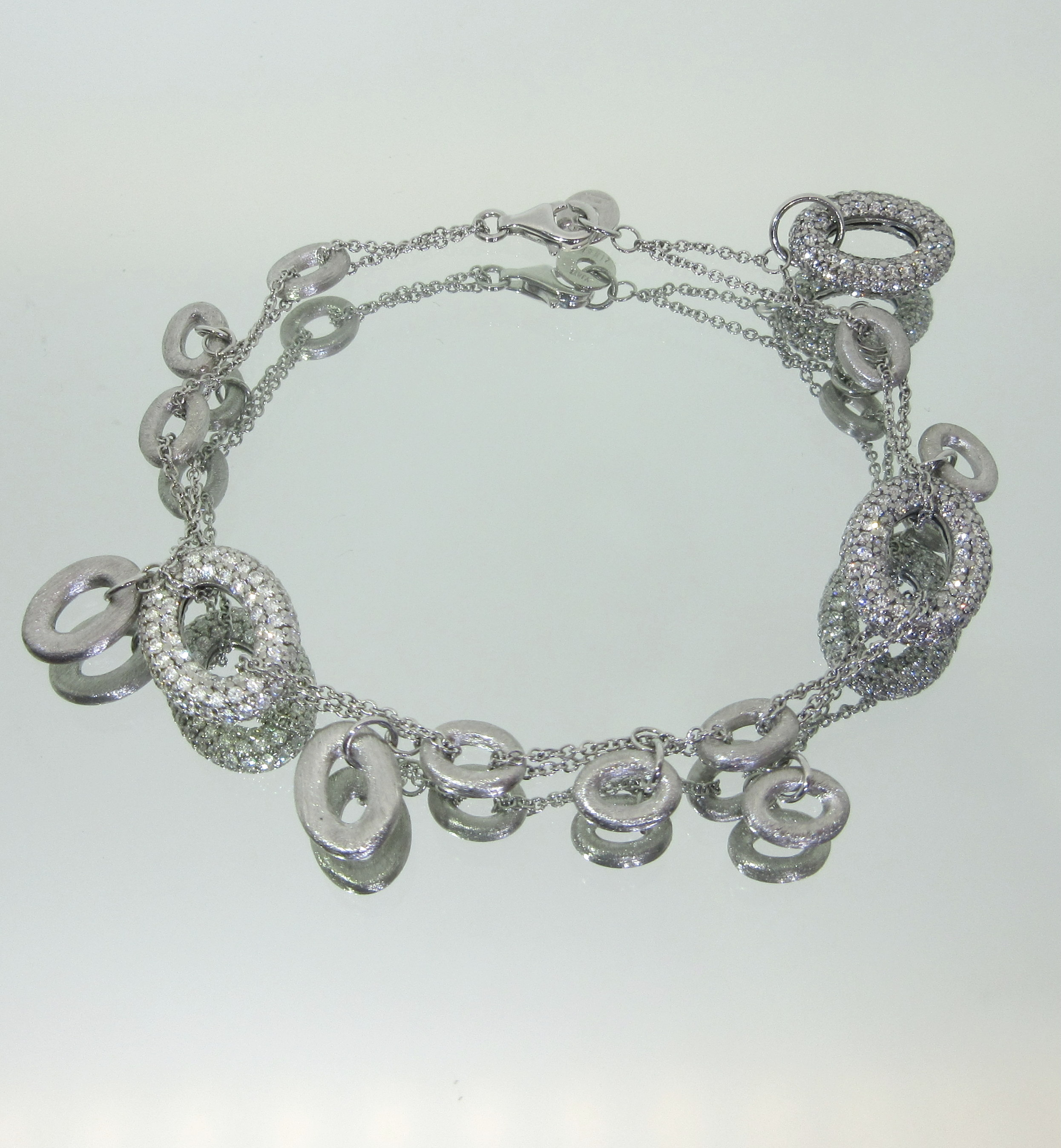 Crystal & Sterling Silver Double Chain Bracelet