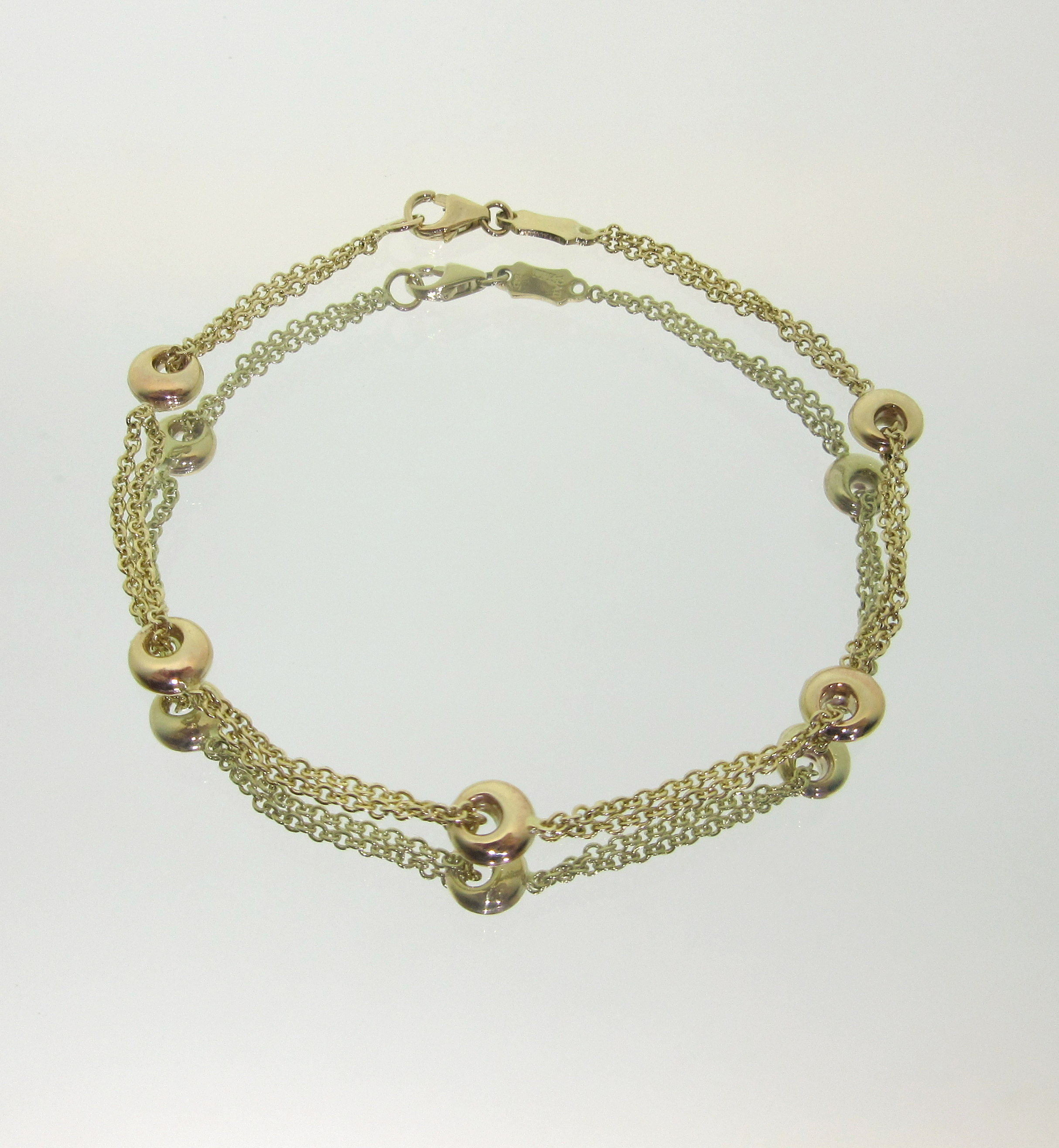 Yellow Gold Double Rolo Chain Bracelet