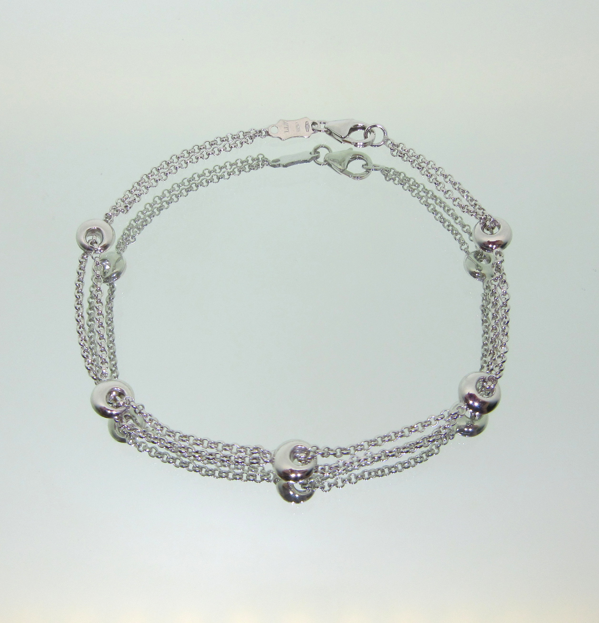 White Gold Double Rolo Chain Bracelet