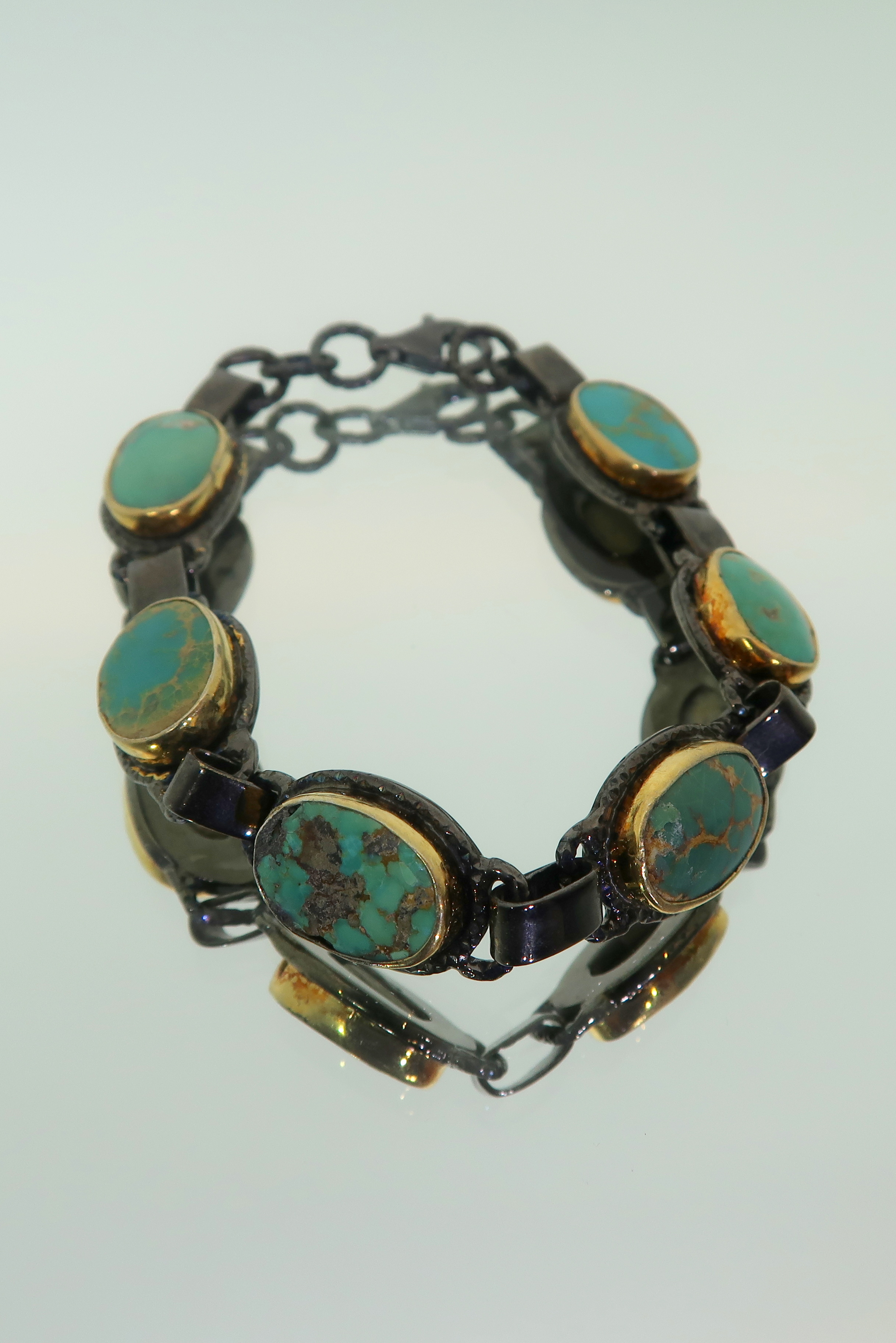 Natural Turquoise & Oxidized Silver Bracelet