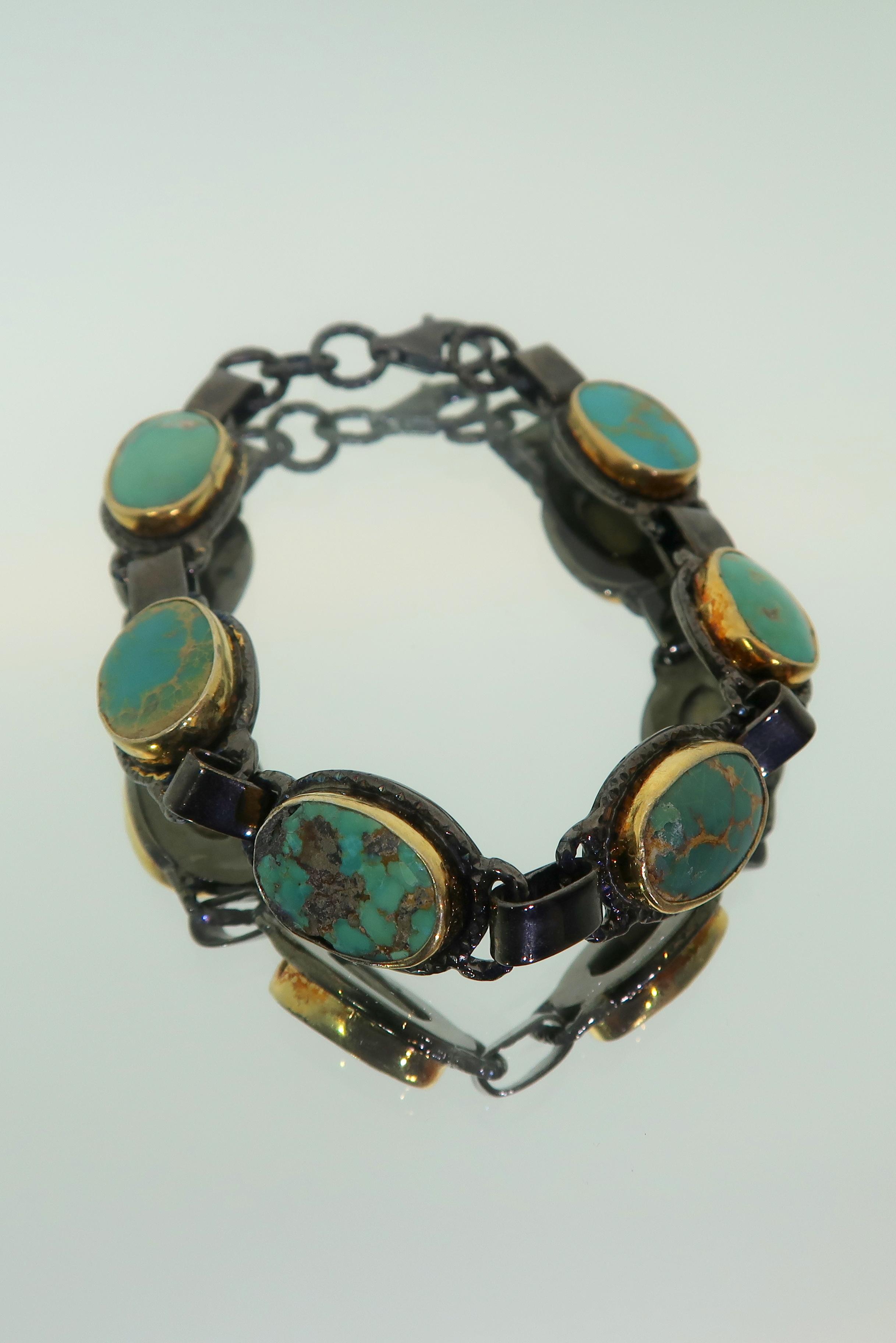 Natural Turquoise & Oxidized Silver Bracelet