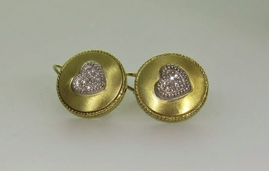 Diamond Heart Disc Earrings