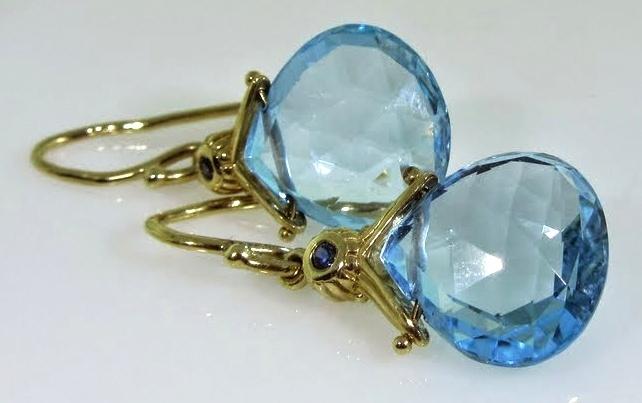 Antique Blue Topaz Drop Earrings