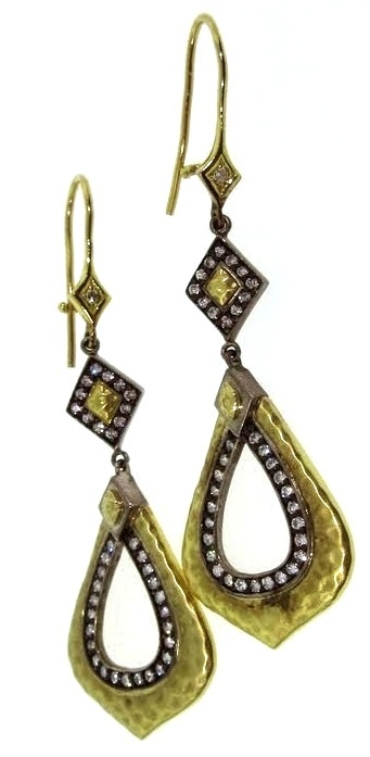 Hammered Gold & Diamond Earrings on Eurowire