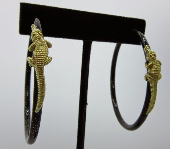 Black Enamel Alligator Hoop Earrings