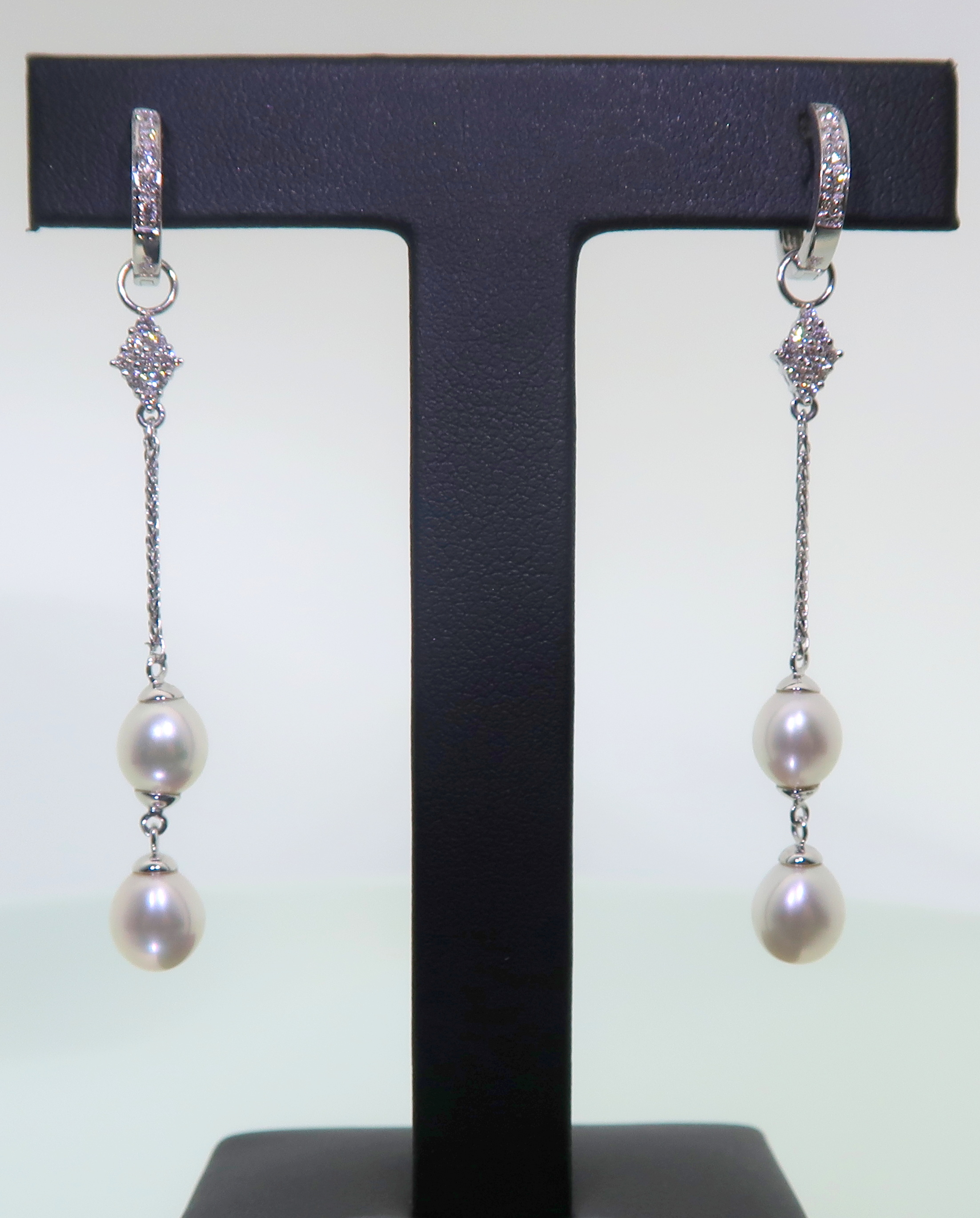 Freshwater Pearl & Diamond Earring Charms